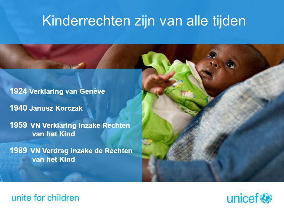 Kinderrechten zijn van alle tijden 1924 Verklaring van Genève 1940 Janusz Korczak 1959 VN Verklaring inzake Rechten van het Kind 1989 VN Verdrag inzak