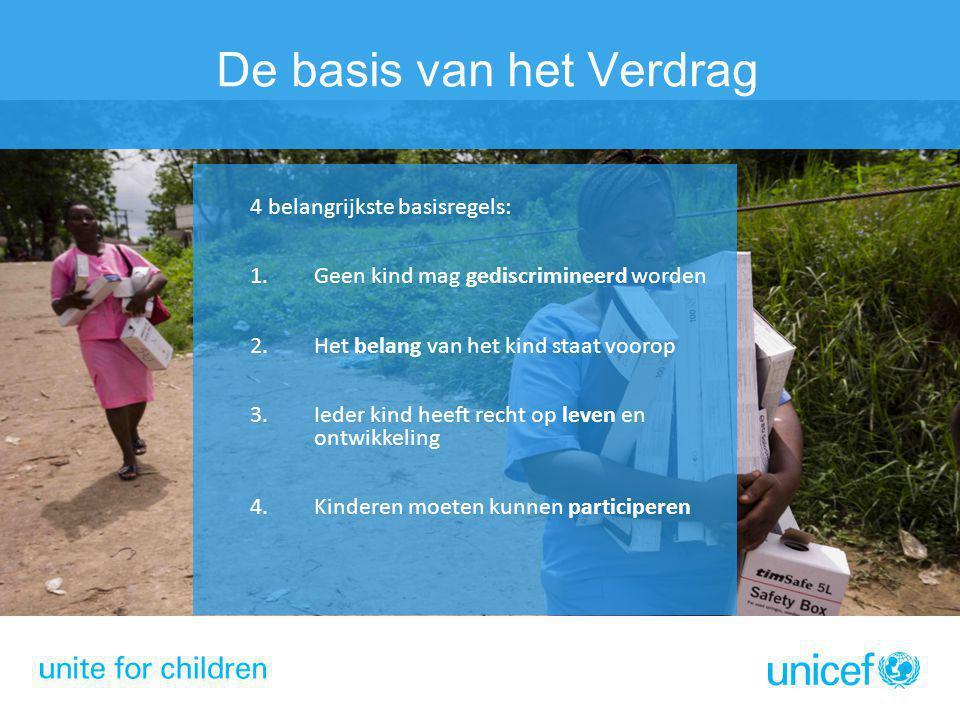 De basis van het Verdrag 4 belangrijkste basisregels: 1.Geen kind mag gediscrimineerd worden 2.Het belang van het kind staat voorop 3.Ieder kind heeft