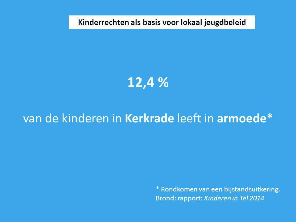 12,4 % van de kinderen in Kerkrade leeft in armoede* Kinderrechten als basis voor lokaal jeugdbeleid * Rondkomen van een bijstandsuitkering. Brond: ra