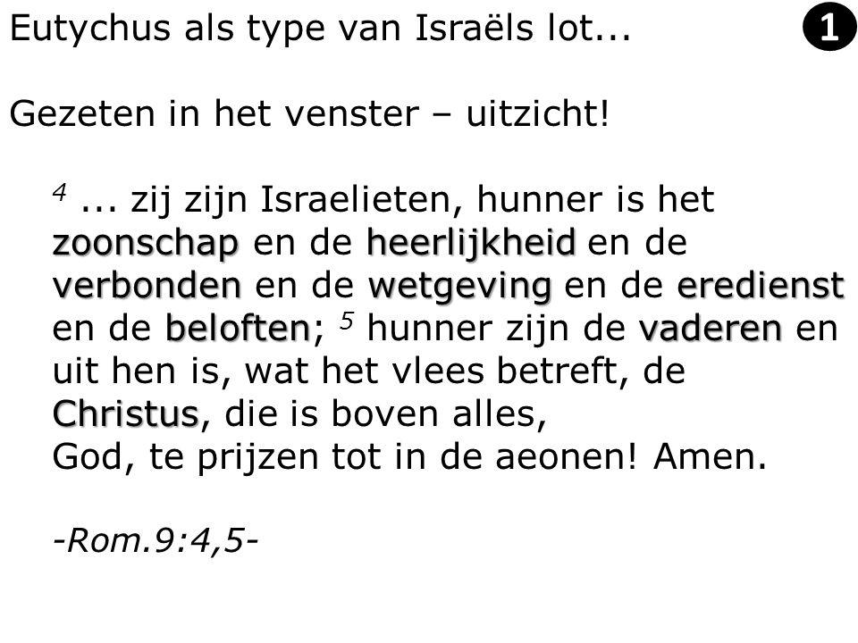 Eutychus als type van Israëls lot... Gezeten in het venster – uitzicht! zoonschapheerlijkheid verbondenwetgevingeredienst beloftenvaderen Christus 4..