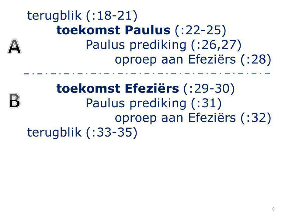 terugblik (:18-21) toekomst Paulus (:22-25) Paulus prediking (:26,27) oproep aan Efeziërs (:28) toekomst Efeziërs (:29-30) Paulus prediking (:31) oproep aan Efeziërs (:32) terugblik (:33-35) 7