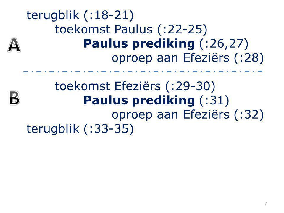 terugblik (:18-21) toekomst Paulus (:22-25) Paulus prediking (:26,27) oproep aan Efeziërs (:28) toekomst Efeziërs (:29-30) Paulus prediking (:31) opro