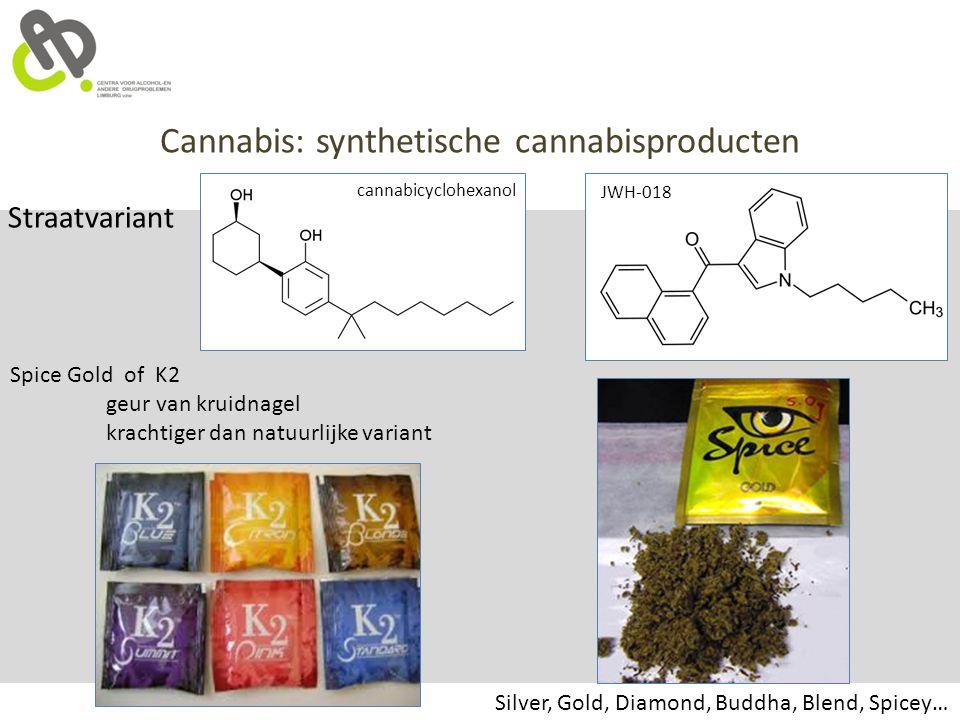 Cannabis: synthetische cannabisproducten Straatvariant Spice Gold of K2 geur van kruidnagel krachtiger dan natuurlijke variant Silver, Gold, Diamond,