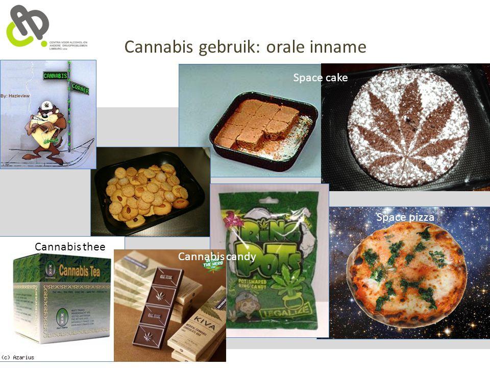 Cannabis gebruik: orale inname Space cake Space pizza Cannabis candy Cannabis thee