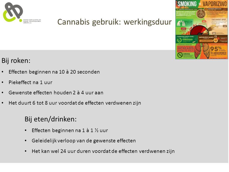 Cannabis gebruik: werkingsduur Bij roken: Effecten beginnen na 10 à 20 seconden Piekeffect na 1 uur Gewenste effecten houden 2 à 4 uur aan Het duurt 6