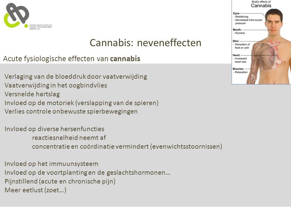 Cannabis: neveneffecten Acute fysiologische effecten van cannabis Verlaging van de bloeddruk door vaatverwijding Vaatverwijding in het oogbindvlies Ve