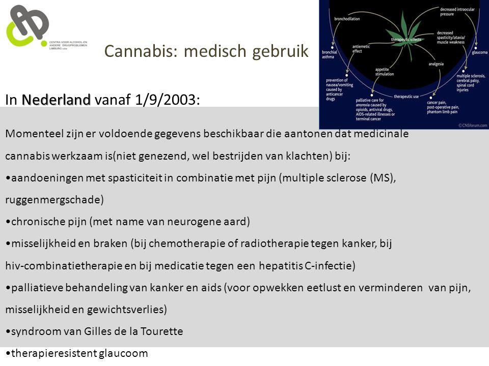 Nederland In Nederland vanaf 1/9/2003: Momenteel zijn er voldoende gegevens beschikbaar die aantonen dat medicinale cannabis werkzaam is(niet genezend
