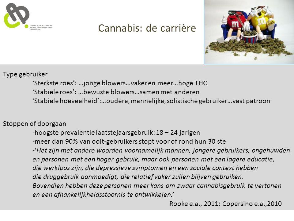 Cannabis: de carrière Type gebruiker 'Sterkste roes': …jonge blowers…vaker en meer…hoge THC 'Stabiele roes': …bewuste blowers…samen met anderen 'Stabi