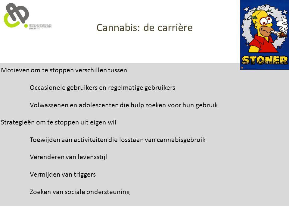 Cannabis: de carrière Motieven om te stoppen verschillen tussen Occasionele gebruikers en regelmatige gebruikers Volwassenen en adolescenten die hulp