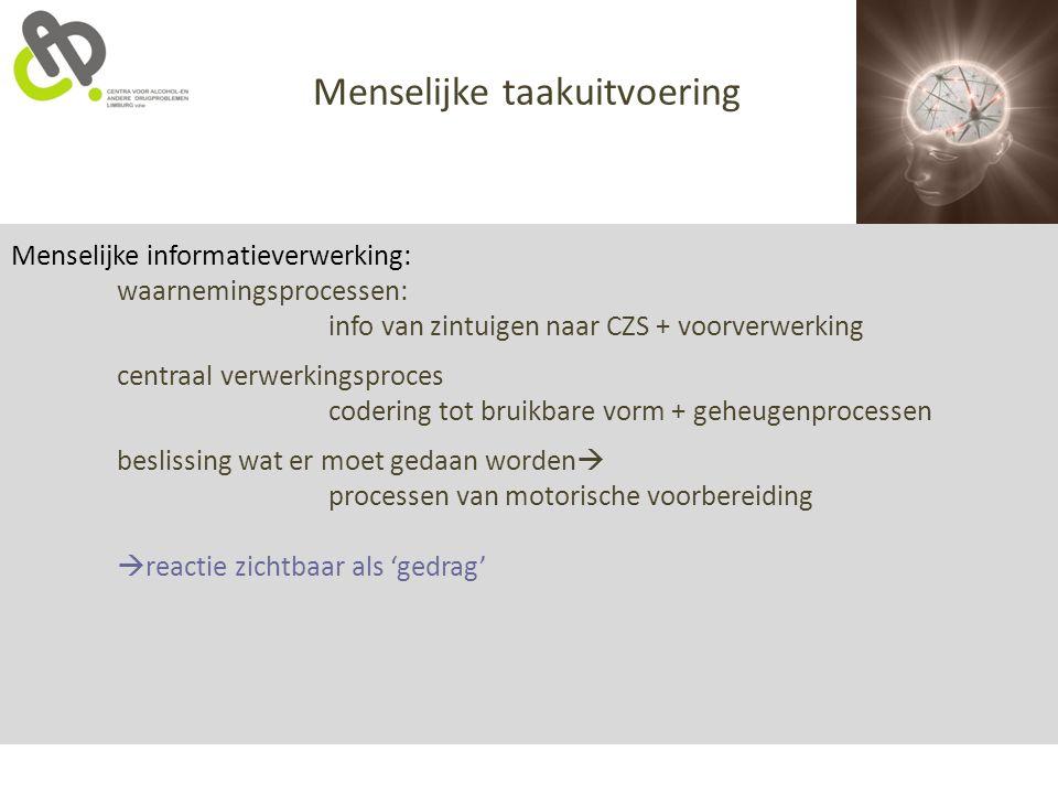 Menselijke informatieverwerking: waarnemingsprocessen: info van zintuigen naar CZS + voorverwerking centraal verwerkingsproces codering tot bruikbare