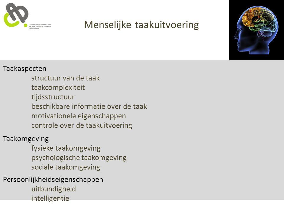 Taakaspecten structuur van de taak taakcomplexiteit tijdsstructuur beschikbare informatie over de taak motivationele eigenschappen controle over de ta