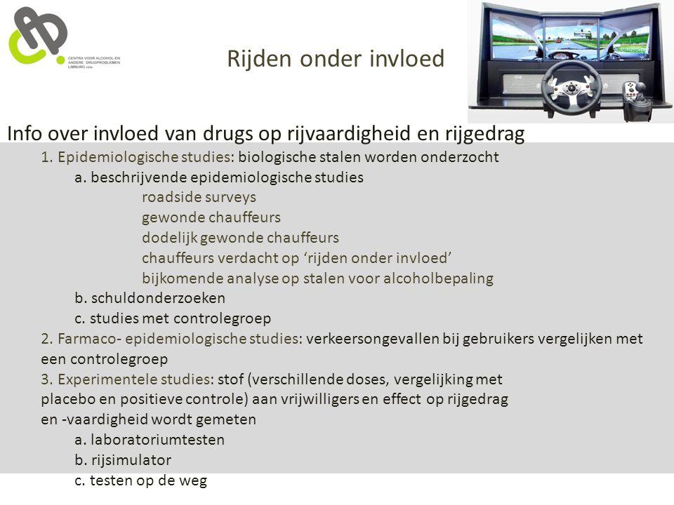 Info over invloed van drugs op rijvaardigheid en rijgedrag 1. Epidemiologische studies: biologische stalen worden onderzocht a. beschrijvende epidemio