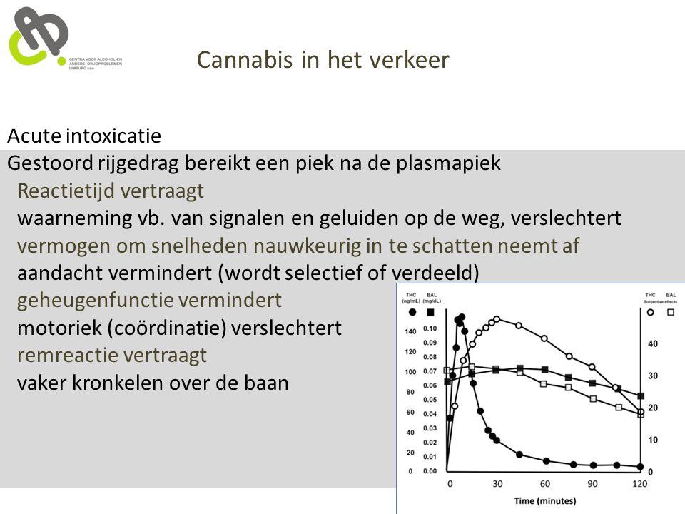Cannabis in het verkeer Acute intoxicatie Gestoord rijgedrag bereikt een piek na de plasmapiek Reactietijd vertraagt waarneming vb. van signalen en ge