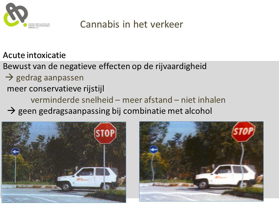 Acute intoxicatie Cannabis in het verkeer Acute intoxicatie Bewust van de negatieve effecten op de rijvaardigheid  gedrag aanpassen meer conservatiev