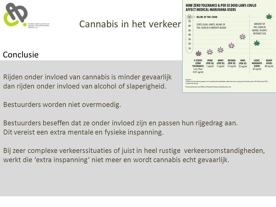 Conclusie Cannabis in het verkeer Rijden onder invloed van cannabis is minder gevaarlijk dan rijden onder invloed van alcohol of slaperigheid. Bestuur