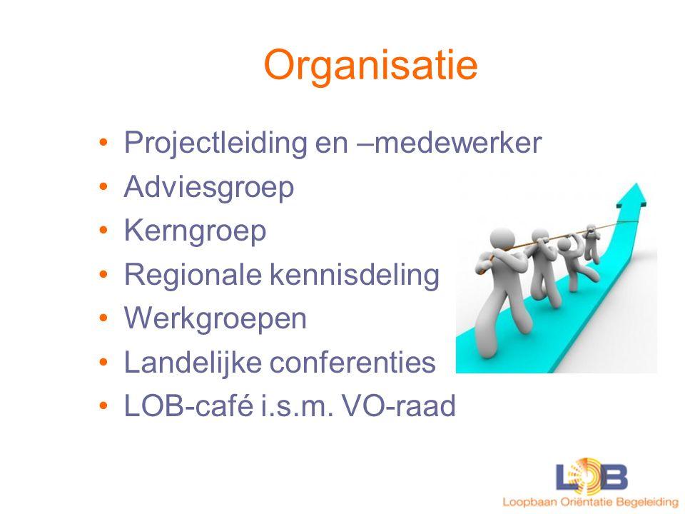 Inhoud Ontwikkeling en implementatie van visie en beleid Deskundigheidsbevordering Werkgroepen met diverse thema's zoals LOB en risicojongeren Informatievoorziening : www.lob4mbo.nl
