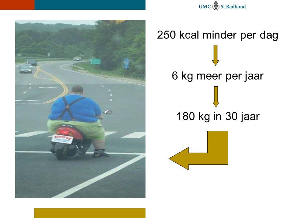 UMC St Radboud 250 kcal minder per dag 6 kg meer per jaar 180 kg in 30 jaar