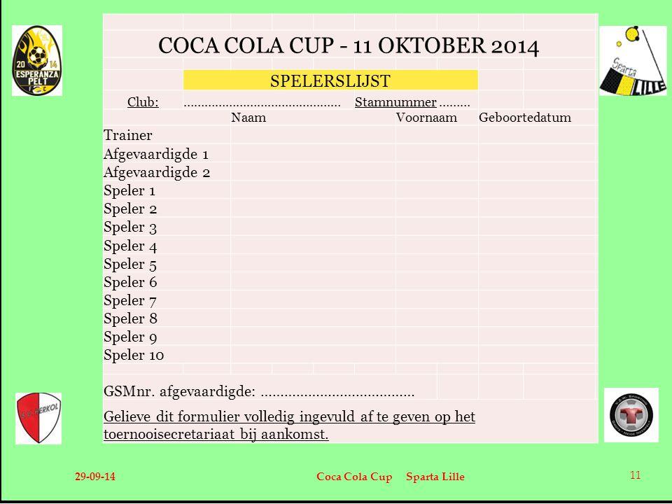 29-09-14 Coca Cola Cup Sparta Lille 11 COCA COLA CUP - 11 OKTOBER 2014 SPELERSLIJST Club:………………………………………Stamnummer ……… NaamVoornaamGeboortedatum Train