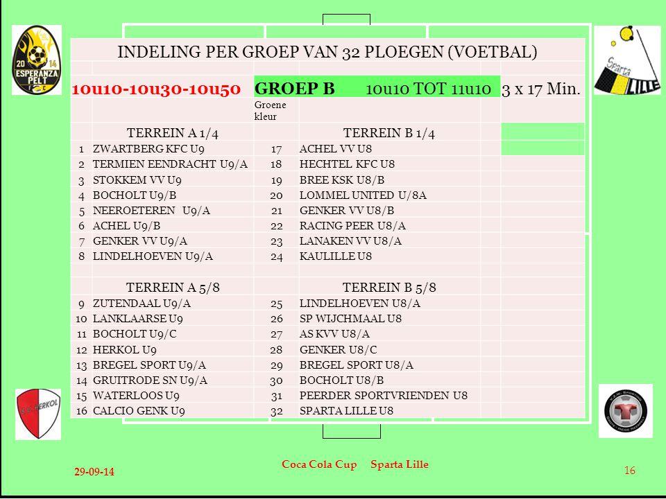 29-09-14 Coca Cola Cup Sparta Lille 16 INDELING PER GROEP VAN 32 PLOEGEN (VOETBAL) 10u10-10u30-10u50GROEP B 10u10 TOT 11u103 x 17 Min. Groene kleur TE