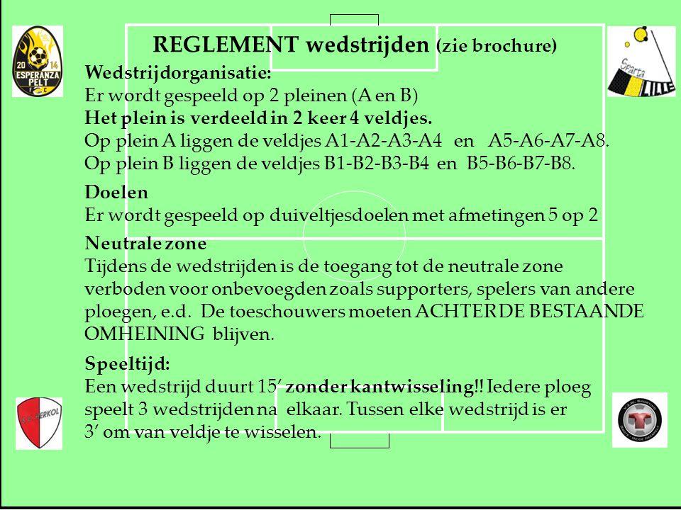 REGLEMENT wedstrijden (zie brochure) Wedstrijdorganisatie: Er wordt gespeeld op 2 pleinen (A en B) Het plein is verdeeld in 2 keer 4 veldjes. Op plein