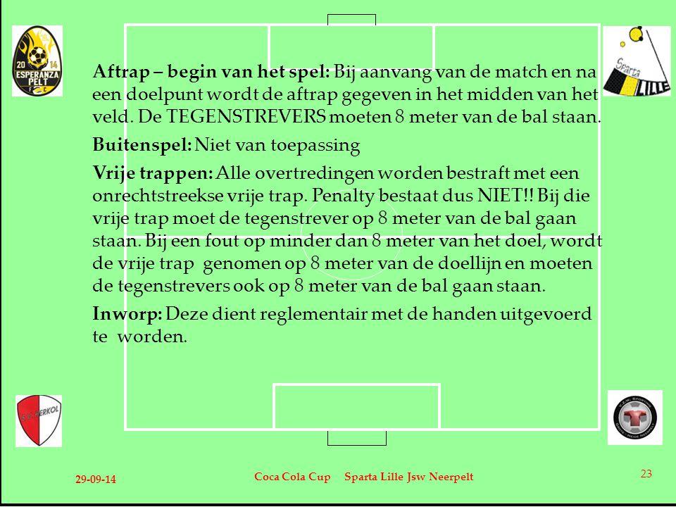 29-09-14 Coca Cola Cup Sparta Lille Jsw Neerpelt 23 Aftrap – begin van het spel: Bij aanvang van de match en na een doelpunt wordt de aftrap gegeven i