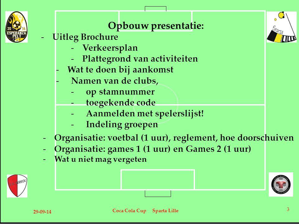 Opbouw presentatie: -Uitleg Brochure -Verkeersplan -Plattegrond van activiteiten -Wat te doen bij aankomst -Namen van de clubs, -op stamnummer -toegek