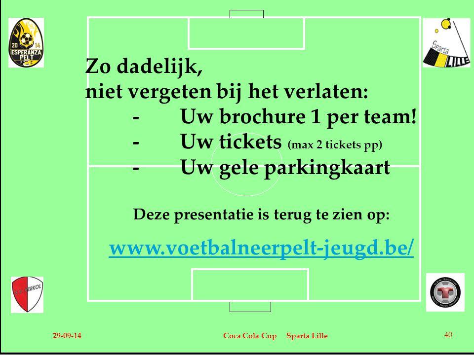 Zo dadelijk, niet vergeten bij het verlaten: -Uw brochure 1 per team! -Uw tickets (max 2 tickets pp) -Uw gele parkingkaart Deze presentatie is terug t
