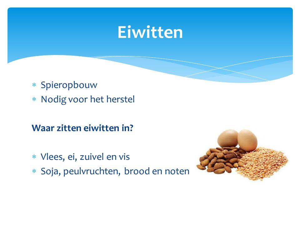  Spieropbouw  Nodig voor het herstel Waar zitten eiwitten in?  Vlees, ei, zuivel en vis  Soja, peulvruchten, brood en noten Eiwitten