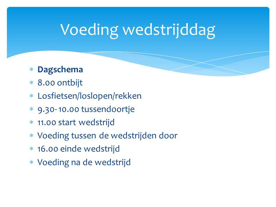 Voeding wedstrijddag  Dagschema  8.00 ontbijt  Losfietsen/loslopen/rekken  9.30- 10.00 tussendoortje  11.00 start wedstrijd  Voeding tussen de w