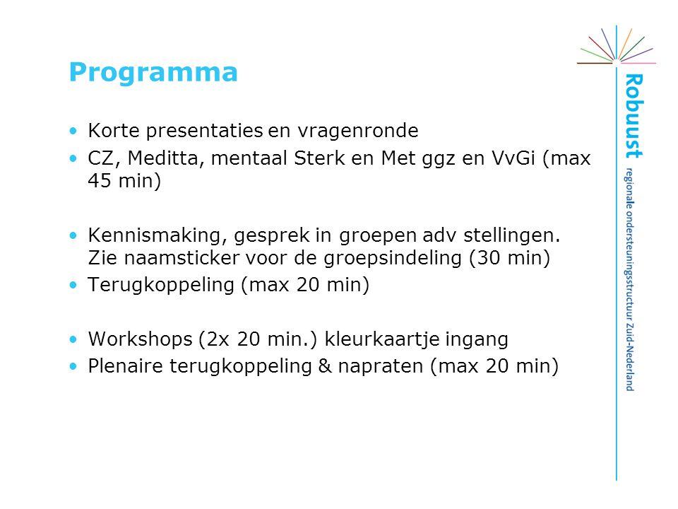 Programma Korte presentaties en vragenronde CZ, Meditta, mentaal Sterk en Met ggz en VvGi (max 45 min) Kennismaking, gesprek in groepen adv stellingen