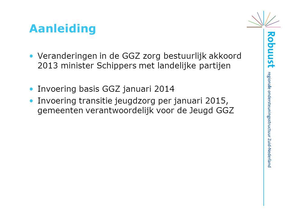 Aanleiding Veranderingen in de GGZ zorg bestuurlijk akkoord 2013 minister Schippers met landelijke partijen Invoering basis GGZ januari 2014 Invoering