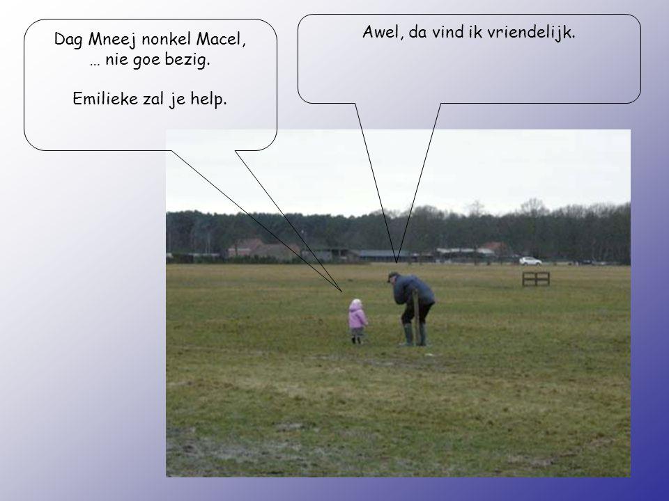 Dag Mneej nonkel Macel, … nie goe bezig. Emilieke zal je help. Awel, da vind ik vriendelijk.