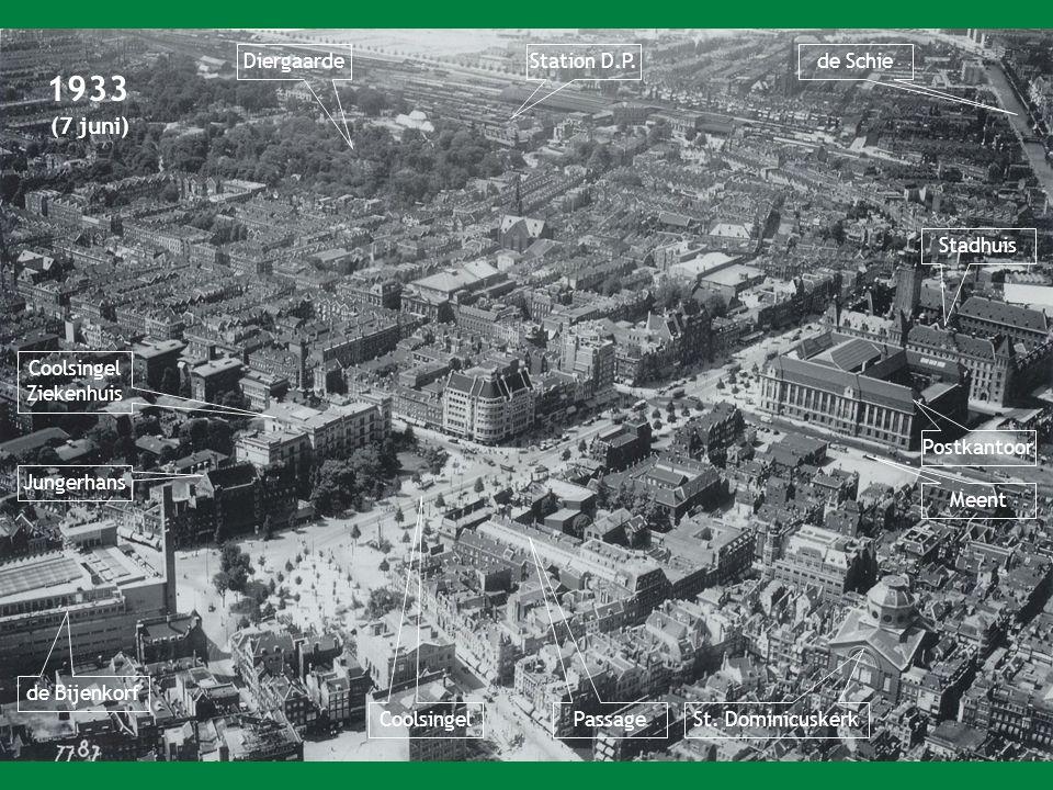 1933 (7 juni) de Bijenkorf Coolsingel Ziekenhuis Passage Postkantoor Stadhuis Meent St.