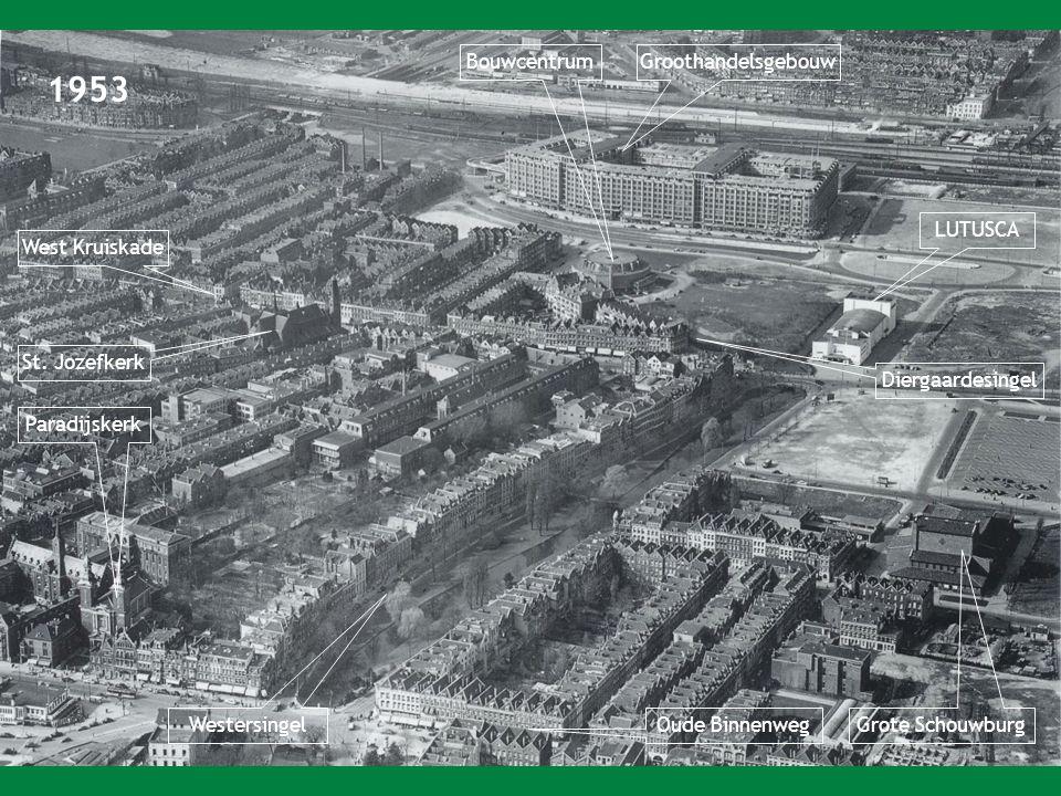 1953 GroothandelsgebouwBouwcentrum LUTUSCA Grote Schouwburg Paradijskerk Westersingel Oude Binnenweg St.