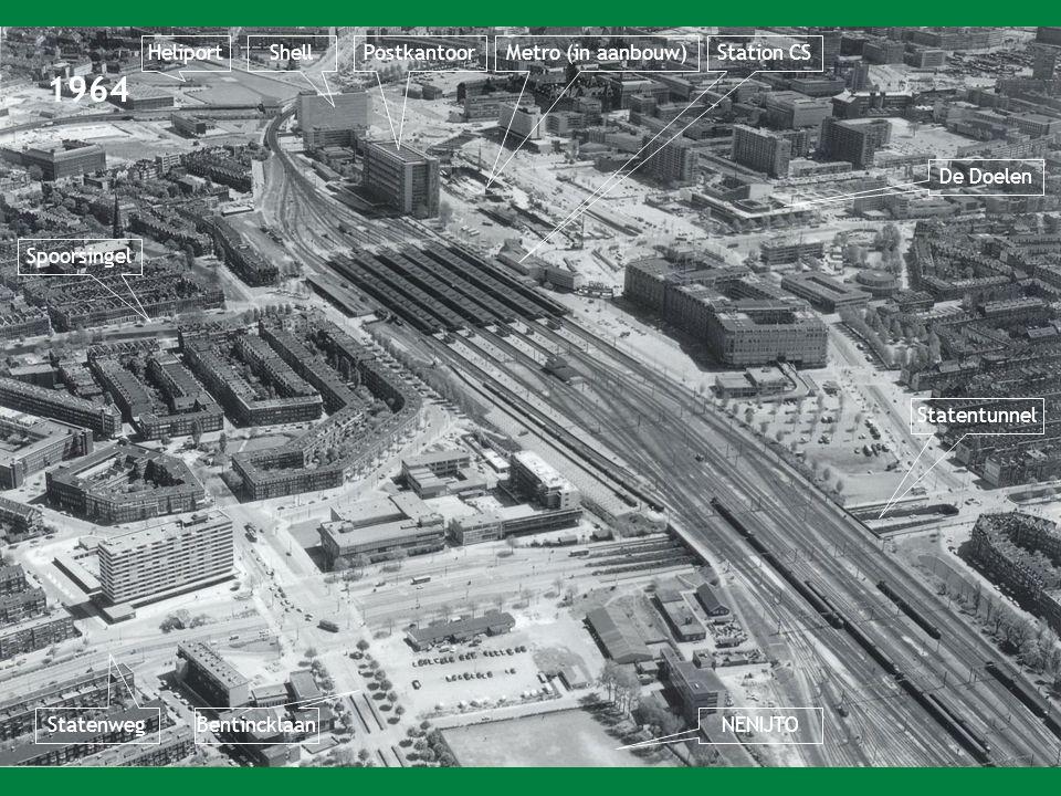 1964 HeliportPostkantoorMetro (in aanbouw)Station CSShell Statentunnel NENIJTO Bentincklaan Statenweg Spoorsingel De Doelen