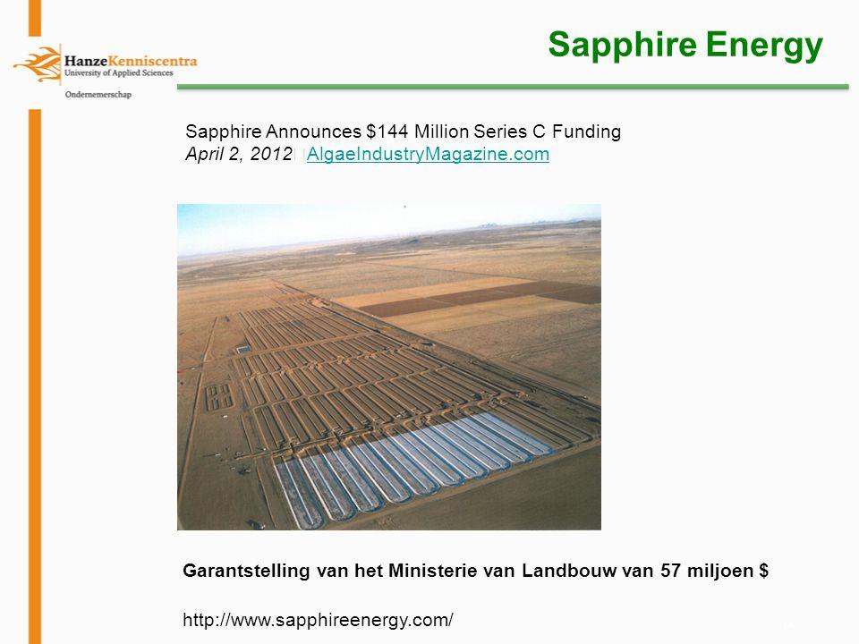 14 Sapphire Energy Sapphire Announces $144 Million Series C Funding April 2, 2012 AlgaeIndustryMagazine.com AlgaeIndustryMagazine.com Garantstelling v