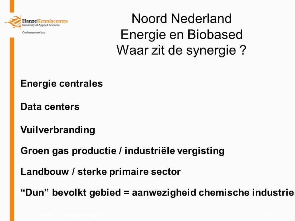03-03-1123 Aardolie en algen Noord Nederland Energie en Biobased Waar zit de synergie ? Energie centrales Data centers Vuilverbranding Groen gas produ