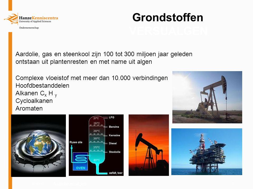 03-03-117 Grondstoffen VERSUALGEN Aardolie, gas en steenkool zijn 100 tot 300 miljoen jaar geleden ontstaan uit plantenresten en met name uit algen Co
