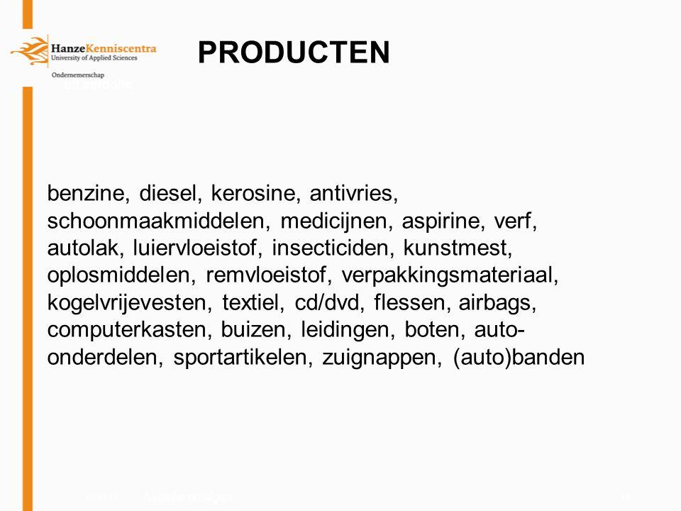 03-03-1110 PRODUCTEN uit aardolie benzine, diesel, kerosine, antivries, schoonmaakmiddelen, medicijnen, aspirine, verf, autolak, luiervloeistof, insec