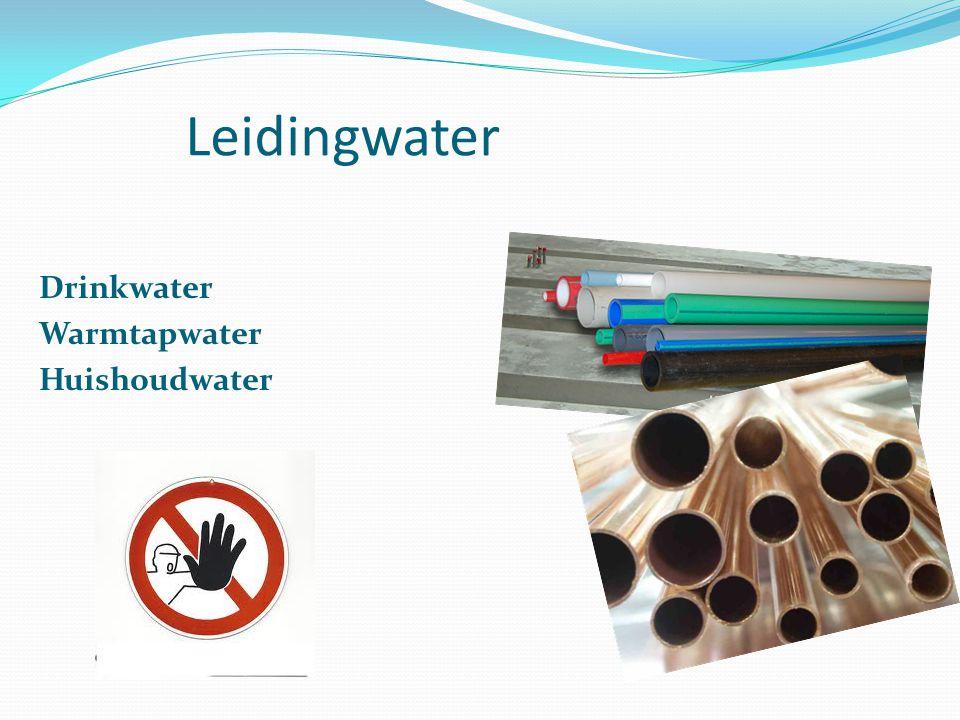 Grondwater Oppervlaktewater Hemelwater Afvalwater Het toilet De wasmachine en De buitenkraan Voor tuinsproeien Autowassen