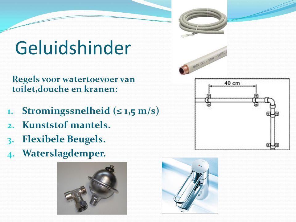 Geluidshinder 1. Stromingssnelheid (≤ 1,5 m/s) 2. Kunststof mantels. 3. Flexibele Beugels. 4. Waterslagdemper. Regels voor watertoevoer van toilet,dou