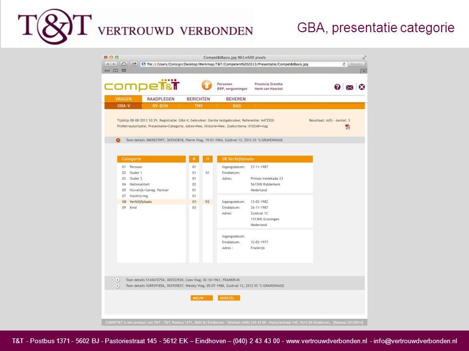T&T - Postbus 1371 - 5602 BJ - Pastoriestraat 145 - 5612 EK – Eindhoven – (040) 2 43 43 00 - www.vertrouwdverbonden.nl - info@vertrouwdverbonden.nl GBA, presentatie categorie