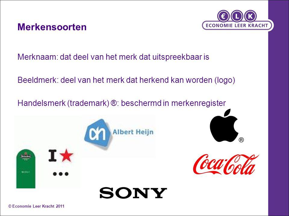 Merkensoorten Merknaam: dat deel van het merk dat uitspreekbaar is Beeldmerk: deel van het merk dat herkend kan worden (logo) Handelsmerk (trademark)