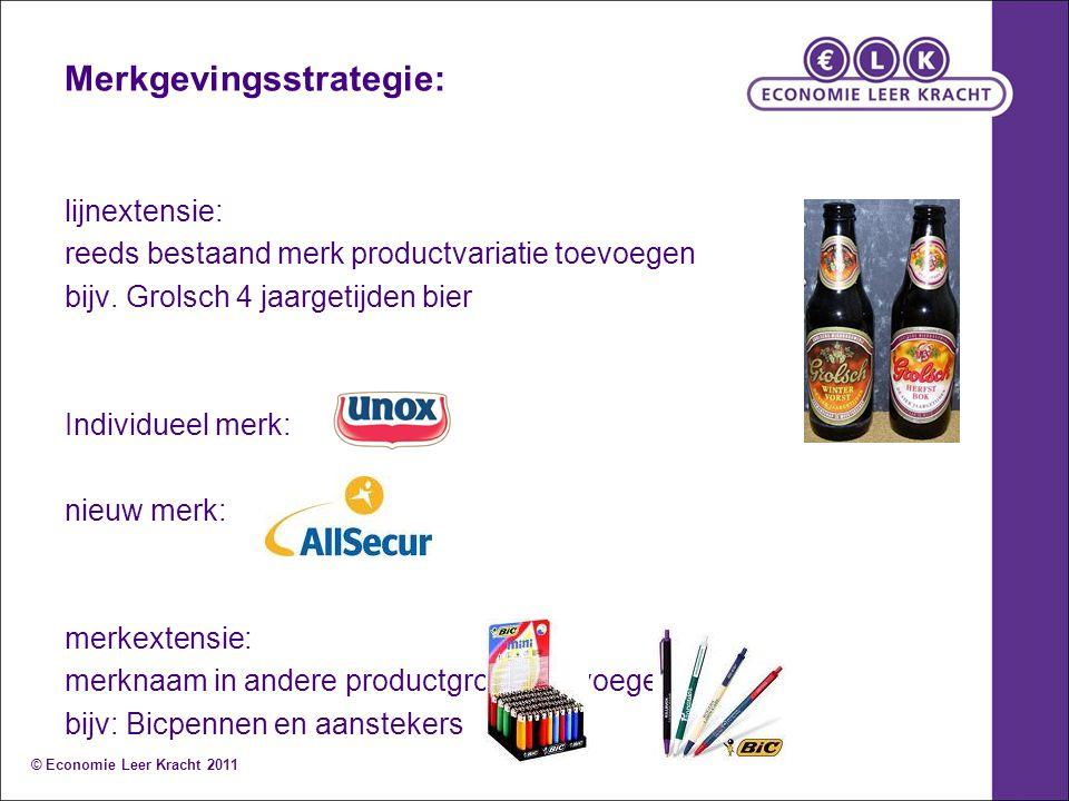 Merkgevingsstrategie: lijnextensie: reeds bestaand merk productvariatie toevoegen bijv. Grolsch 4 jaargetijden bier Individueel merk: nieuw merk: merk