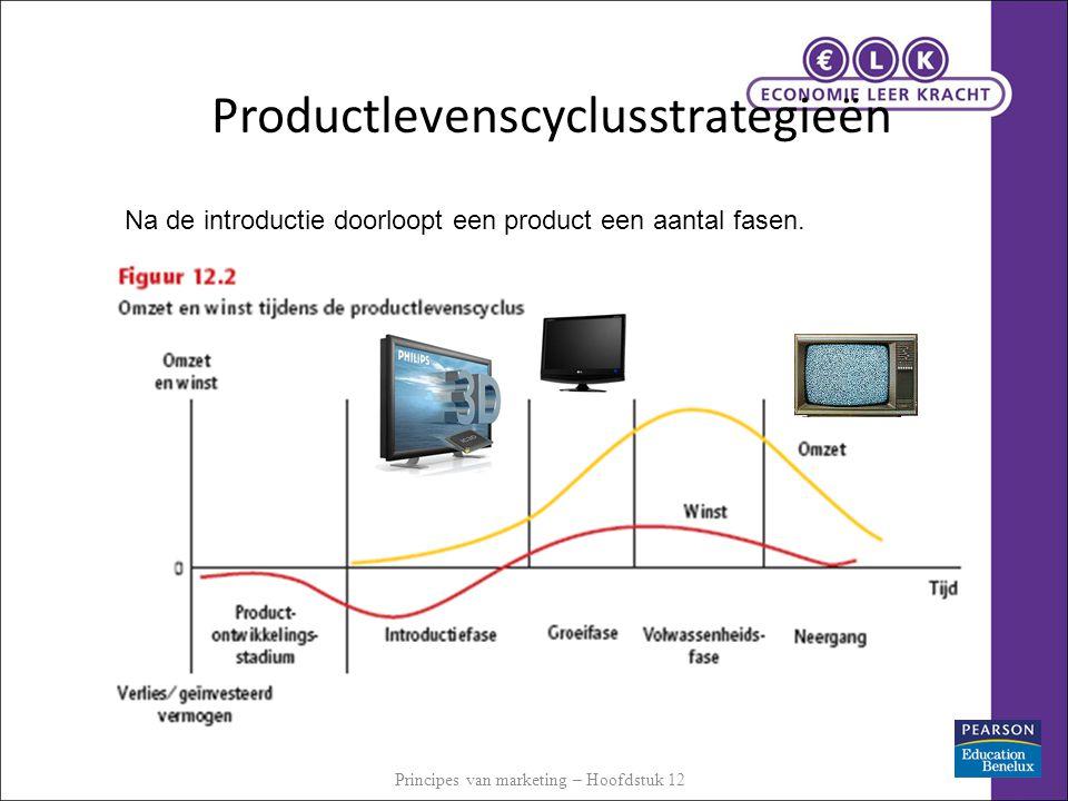 Productlevenscyclusstrategieën Na de introductie doorloopt een product een aantal fasen. Principes van marketing – Hoofdstuk 12