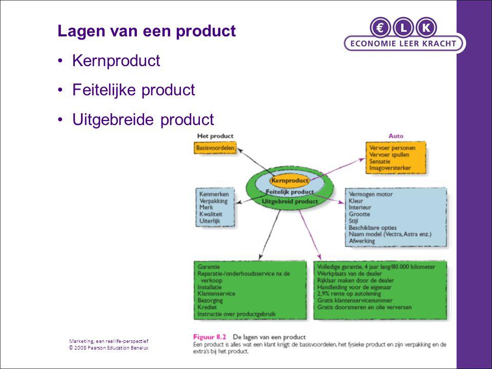 Marketing, een reallife-perspectief © 2008 Pearson Education Benelux Lagen van een product Kernproduct Feitelijke product Uitgebreide product