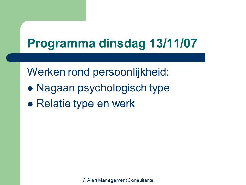 © Alert Management Consultants Programma dinsdag 13/11/07 Werken rond persoonlijkheid: Nagaan psychologisch type Relatie type en werk