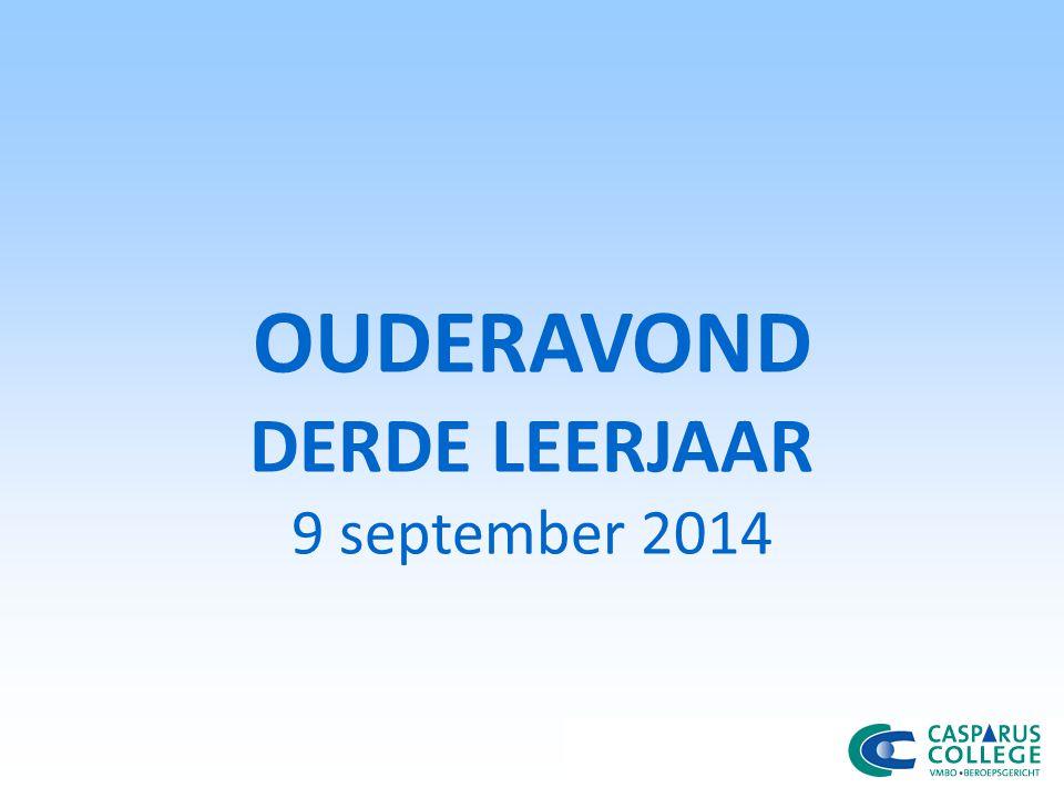 OUDERAVOND DERDE LEERJAAR 9 september 2014