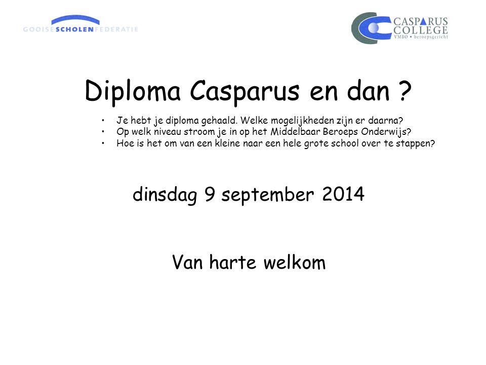 Diploma Casparus en dan ? Je hebt je diploma gehaald. Welke mogelijkheden zijn er daarna? Op welk niveau stroom je in op het Middelbaar Beroeps Onderw