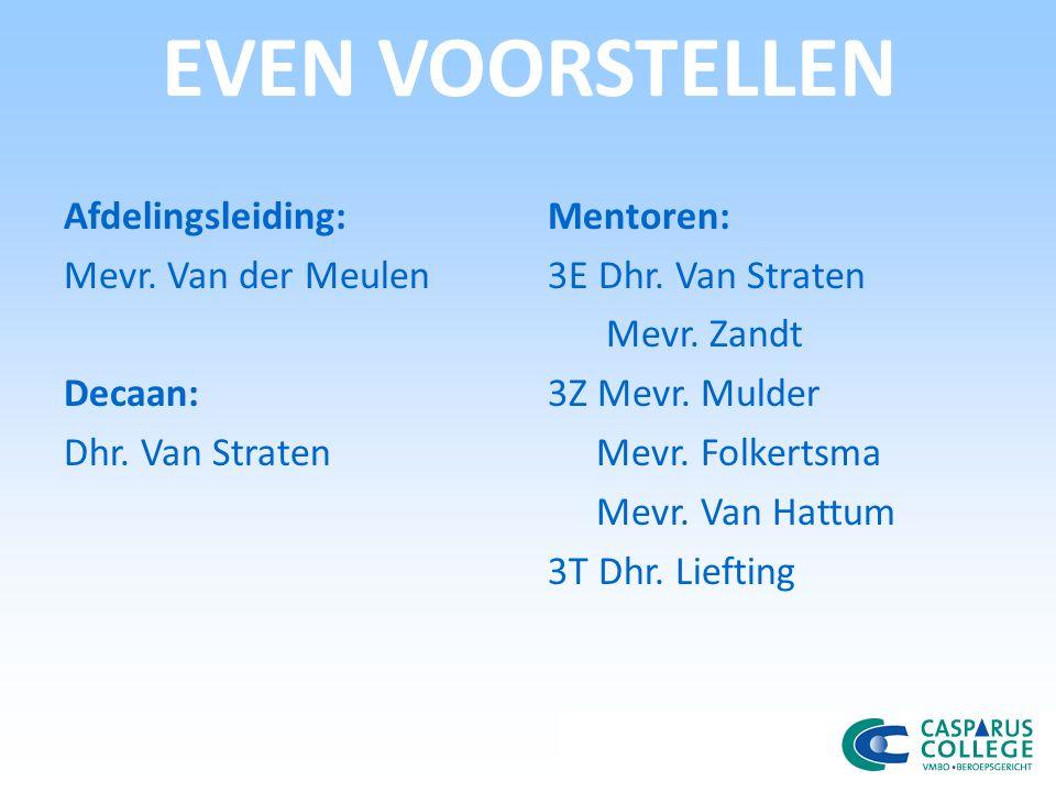 EVEN VOORSTELLEN Afdelingsleiding: Mevr.Van der Meulen Decaan: Dhr.